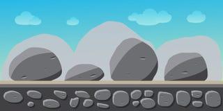 Aardlandschap, achtergrond voor spelen, stenen Stock Foto