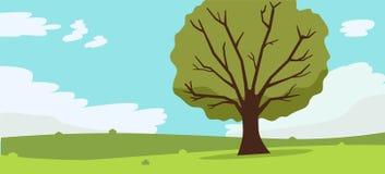 Aardlandschap met boom, wolken en hemelachtergrond Vector illustratie Het Groene Gras van bergenheuvels en grote boom royalty-vrije illustratie