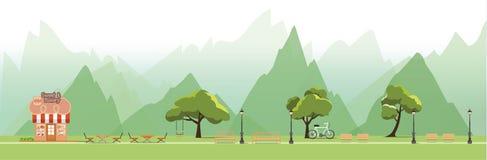 Aardlandschap met tuin, openbaar park, bakkerijwinkel, vector vector illustratie