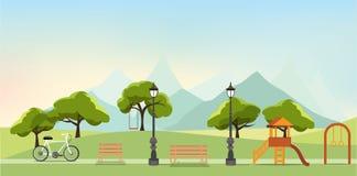 Aardlandschap met tuin, openbaar park, pretpark, vector royalty-vrije illustratie