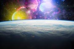 Aardobservatie De mening van ruimte van de aarde Panets, sterren en melkwegen Elementen door NASA worden geleverd die Stock Foto