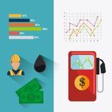 Aardolie en olie de industrie infographic ontwerp Stock Afbeelding