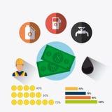 Aardolie en olie de industrie infographic ontwerp Stock Afbeeldingen
