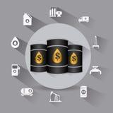 Aardolie en olie de industrie infographic ontwerp Stock Foto's