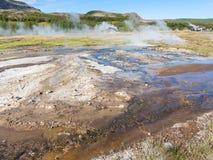 Aardoppervlak in hete de lentevallei van Haukadalur Royalty-vrije Stock Afbeelding