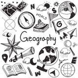 Aardrijkskunde en de geologie het pictogram van de het handschriftkrabbel van het onderwijsonderwerp stock illustratie