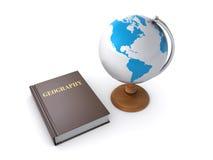 Aardrijkskundeboek en Desktopbol Stock Fotografie