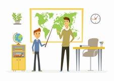 Aardrijkskundeles op school - moderne de karaktersillustratie van beeldverhaalmensen Stock Afbeelding