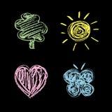 Aardsymbolen op een bord/een Reeks Stock Afbeeldingen