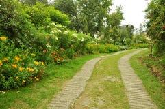 Aardweg met tuin Stock Foto's