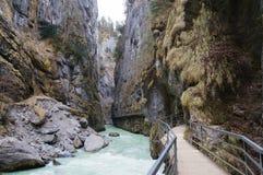 Aare峡谷(Aareschlucht)在迈林根,瑞士附近 库存图片