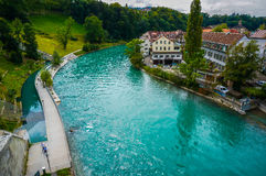 The Aare at Bern, Switzerland. Royalty Free Stock Photo