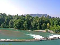 Aare flodfördämning i Berne Royaltyfria Foton