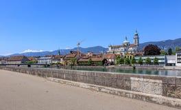 Aare-Fluss in der Stadt von Solothurn, die Schweiz Lizenzfreies Stockfoto