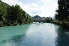 Aare Fluss in Interlaken Lizenzfreies Stockbild