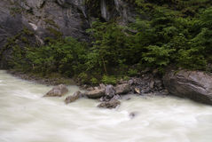The Aare gorge. Waterfall in the Aare Gorge near Meiringen in the Swiss Bernese Oberlandr royalty free stock photo