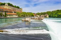 Aare rive. Bern city along Aare river in Bern, Switzerland stock photo