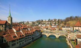 Aare River. Bern old house along Aare River in end of March 2012, Switzerland stock image