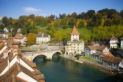 Aare River, Bern Switzerland stock photo