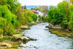 Aare river in Brugg City in Switzerland. Aare river in Brugg City, Canton Aargau, Switzerland stock photo