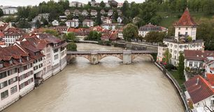 Aare river. Coastal cityscape of Bern. Old town, Switzerland stock images