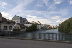 Aare river crossing the centre of Thun, Switzerland Stock Photo