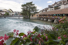 Aare river crossing the centre of Thun, Switzerland Stock Photography