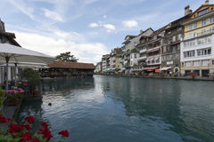 Aare river crossing the centre of Thun, Switzerland Stock Image