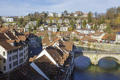 Aare river flows next to the historic city center Stock Photos