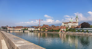 Aare river and St. Ursus cathedral in Solothurn, Switzerland Royalty Free Stock Image