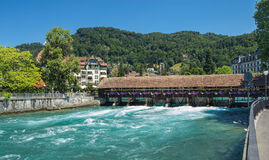 Aare river in Thun, Switzerland Stock Photos