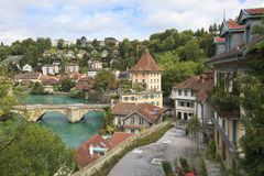 aarebern bro över floden switzerland Arkivfoto