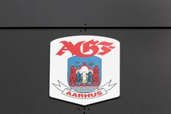 Aarhus AGF logo on a wall royalty free stock image