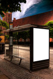 Aarhus bus stop HDR. A high dynamic range image of a bus stop with a blank bilboard for your advertising Royalty Free Stock Images