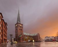 Aarhus Cathedral - Cathedral of Århus at dawn. Denmark stock images