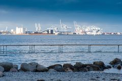 Aarhus city and harbour from the Infinity Bridge Royalty Free Stock Image