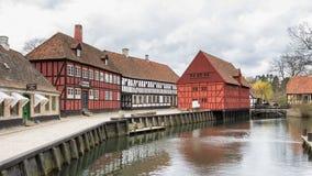 AARHUS, DÄNEMARK - 12. APRIL 2015: Mittelalterliche Häuser in Aarhus Lizenzfreie Stockfotografie