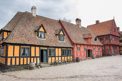 AARHUS, DENMARK - APRIL 12, 2015: Medieval houses the streets of Stock Photography