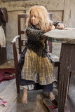 Aarhus, Denmark - April 12, 2015: Medieval poor young girl in op Royalty Free Stock Image