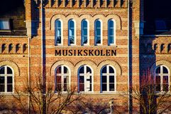 Aarhus denmark city art music school. Very much one of the main tourist attractions and points of interest in the area Stock Photos