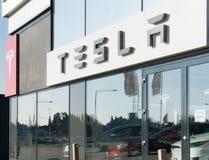 Aarhus, Denmark - September 14, 2016: Tesla car dealer entrance stock photo