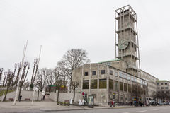 AARHUS, DINAMARCA - 14 de abril de 2015: Opinión sobre el centro de Aarhus w Foto de archivo libre de regalías