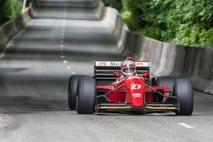 AARHUS, DINAMARCA - 28 DE MAYO DE 2016: Claus Bertelsen en Lola-Ferrari T93, en la raza clásica Aarhus 2016 Imagenes de archivo