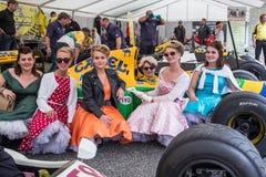 AARHUS, DINAMARCA - 28 DE MAYO DE 2016: Lorina McLaughlin #19 - Benetton B192 (ex-Michael Schumacher) en la raza clásica Aarh Fotos de archivo