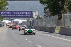 AARHUS, DINAMARCA - 29 DE MAYO DE 2016: Nikolaj Enager Mortensen en Lotus Elan, en la raza clásica Aarhus 2016 Fotos de archivo