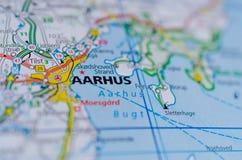 Aarhus en mapa Fotos de archivo