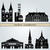 Aarhus Landmarks. And monuments on blue background in editable vector file vector illustration