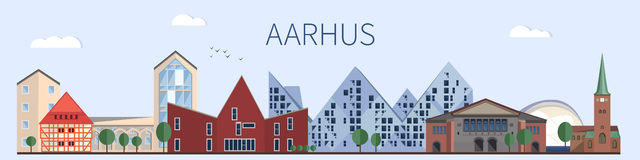 Aarhus landmarks and monuments in flat style. Aarhus skyline Vector Royalty Free Stock Image
