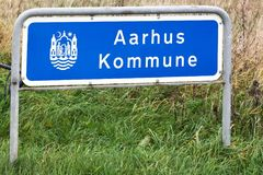 Aarhus municipality road sign. In Denmark Royalty Free Stock Images