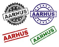 Scratched Textured AARHUS Stamp Seals. AARHUS seal prints with corroded texture. Black, green,red,blue vector rubber prints of AARHUS text with corroded texture stock illustration